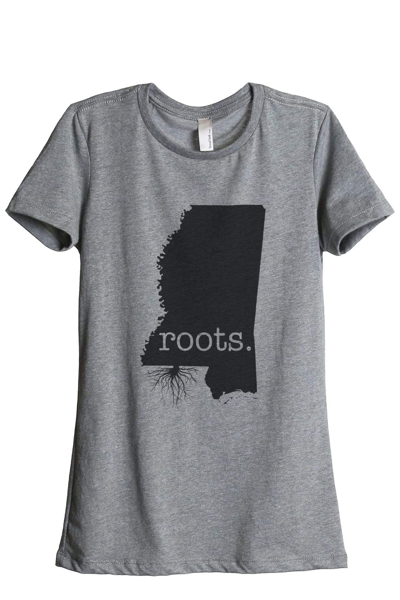 Home Roots State Mississippi MS Women Heather Grey Relaxed Crew T-Shirt Tee Top