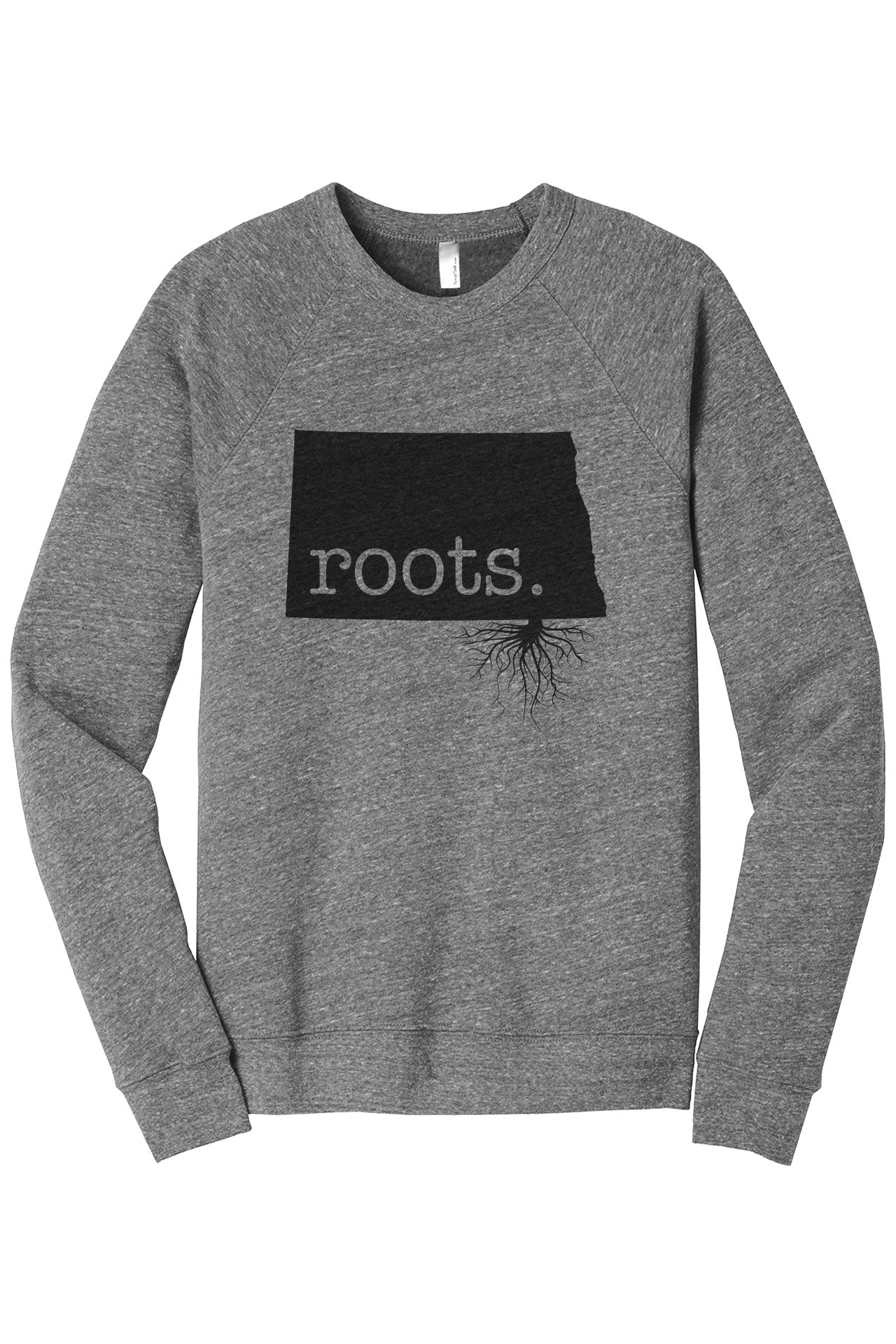 Home Roots State North Dakota ND Cozy Unisex Fleece Longsleeves Sweater Heather Grey FRONT