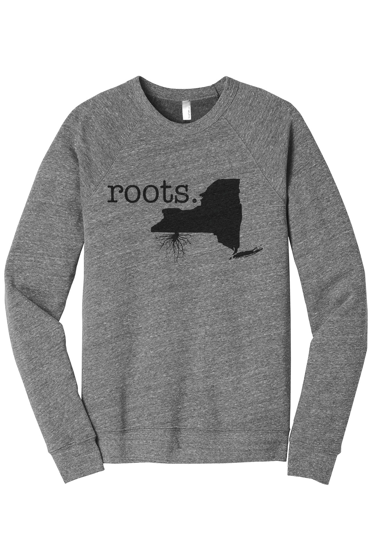 Home Roots State New York NY Cozy Unisex Fleece Longsleeves Sweater Heather Grey FRONT