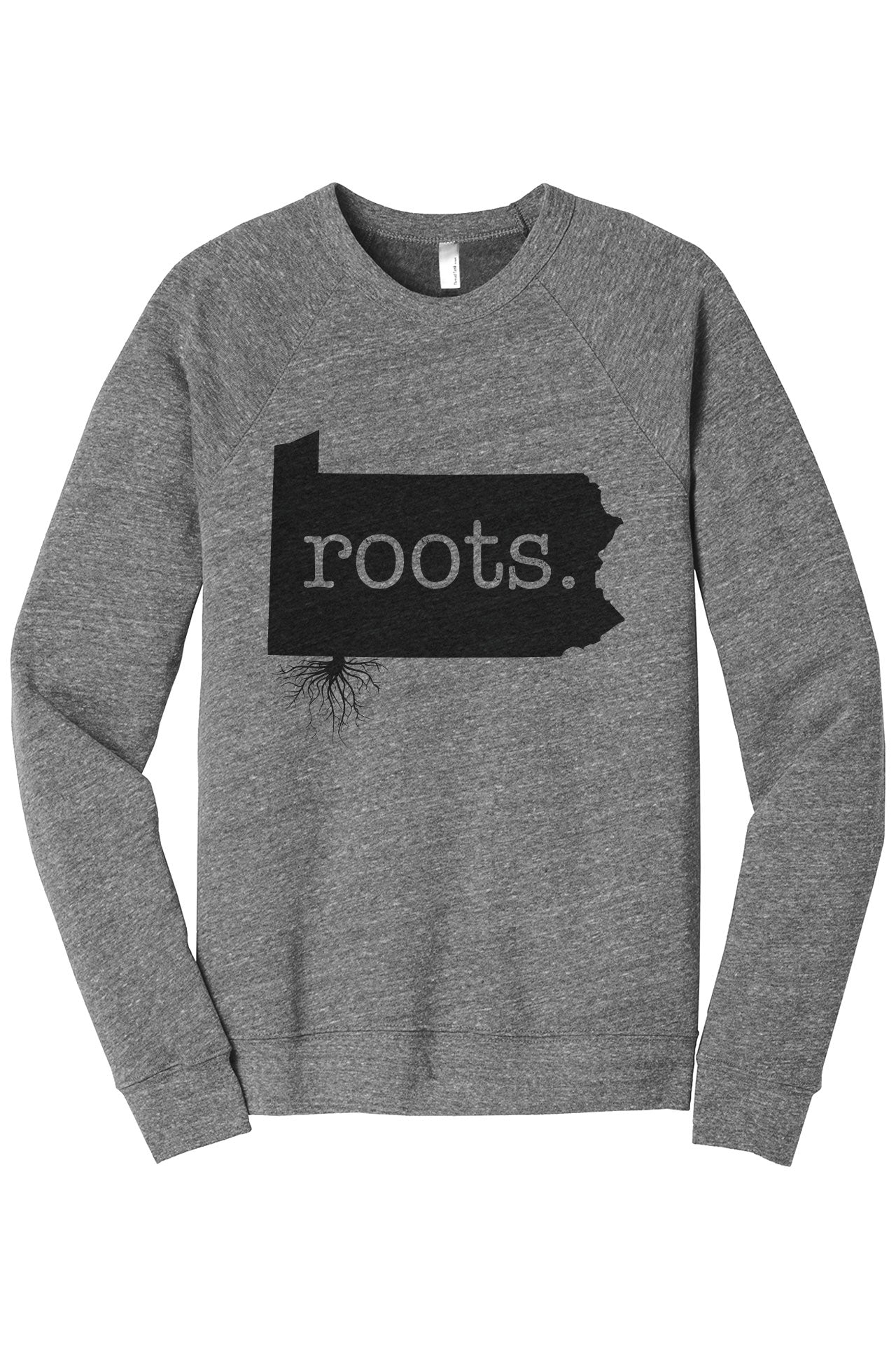 Home Roots State Pennsylvania PA Cozy Unisex Fleece Longsleeves Sweater Heather Grey FRONT