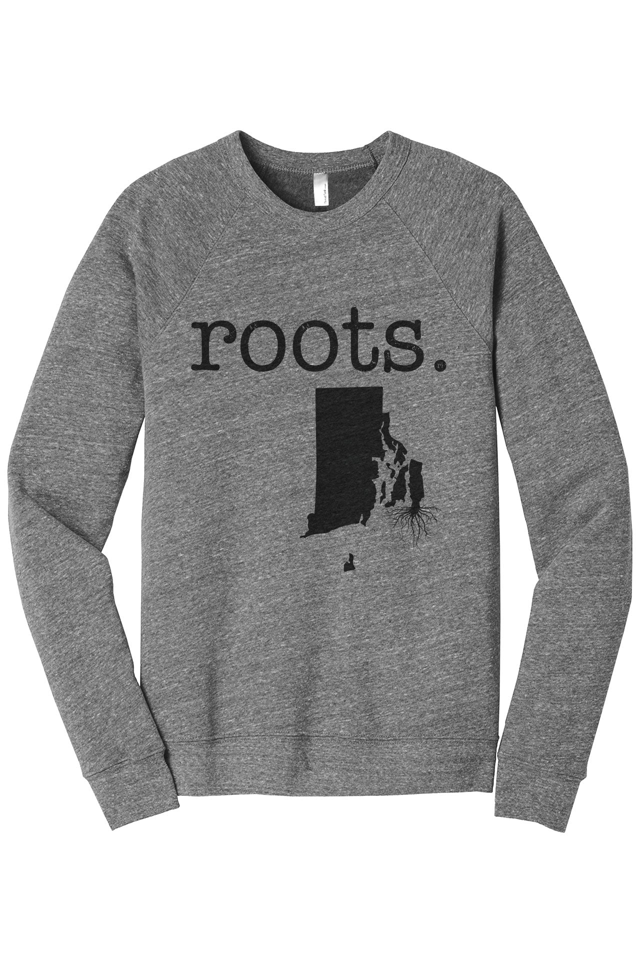 Home Roots State Rhode Island RI Cozy Unisex Fleece Longsleeves Sweater Heather Grey FRONT