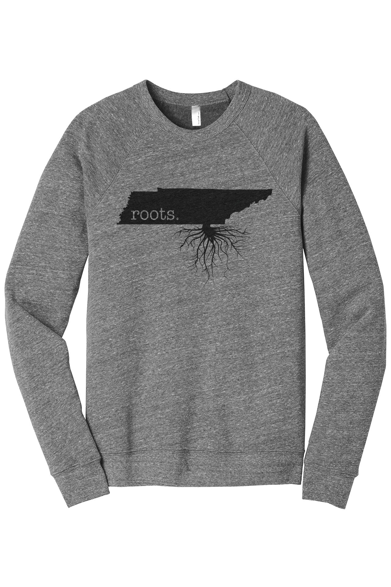 Home Roots State Tennessee TN Cozy Unisex Fleece Longsleeves Sweater Heather Grey FRONT