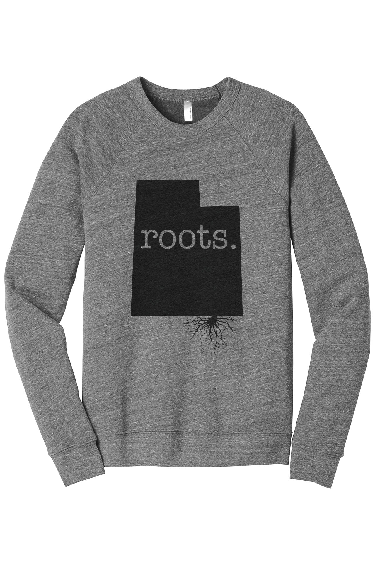 Home Roots State Utah UT Cozy Unisex Fleece Longsleeves Sweater Heather Grey FRONT