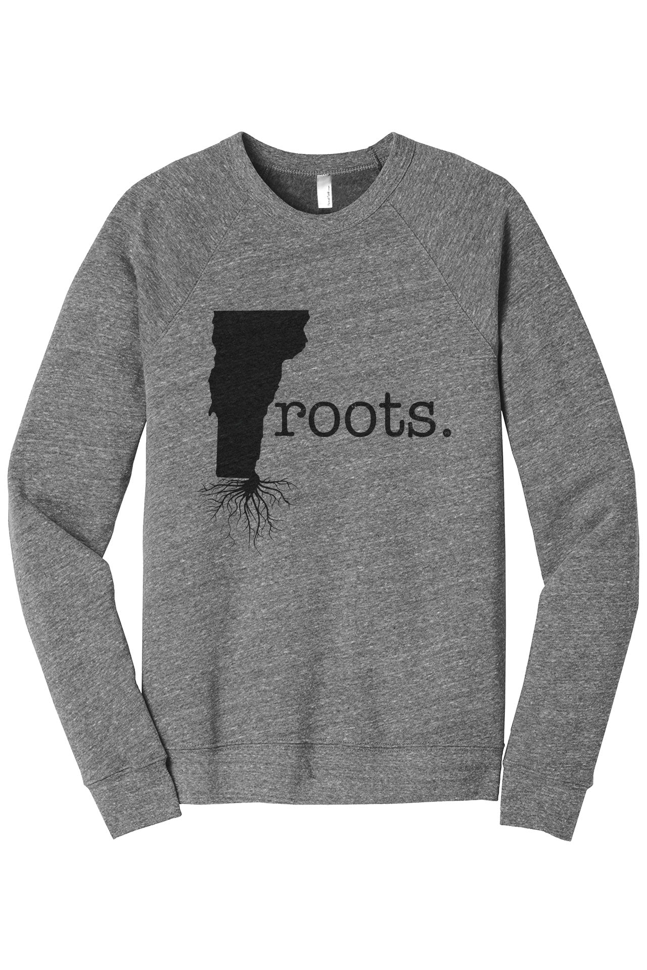 Home Roots State Vermont VT Cozy Unisex Fleece Longsleeves Sweater Heather Grey FRONT