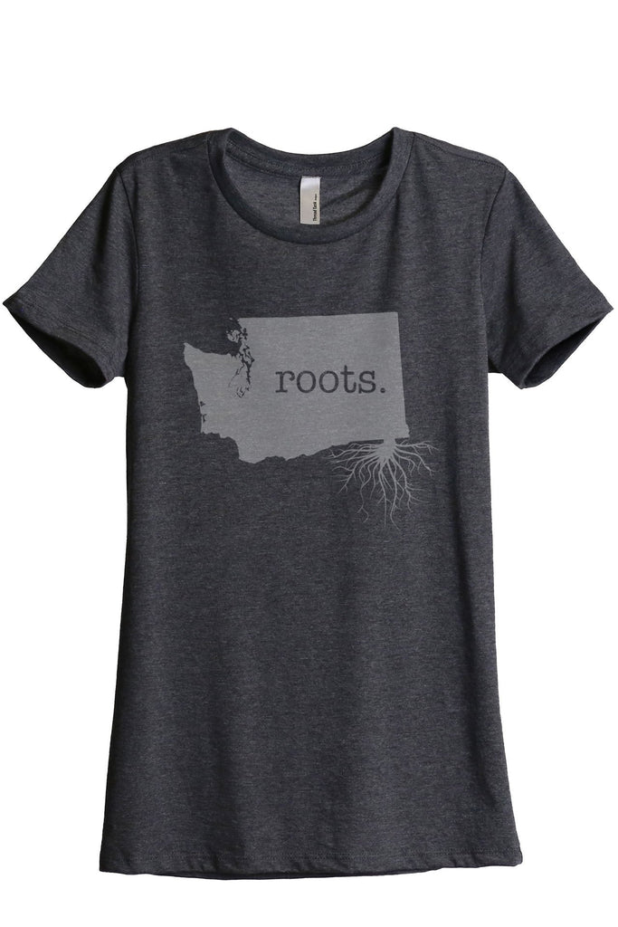 Home Roots State Washington WA Women Charcoal Grey Relaxed Crew T-Shirt Tee Top