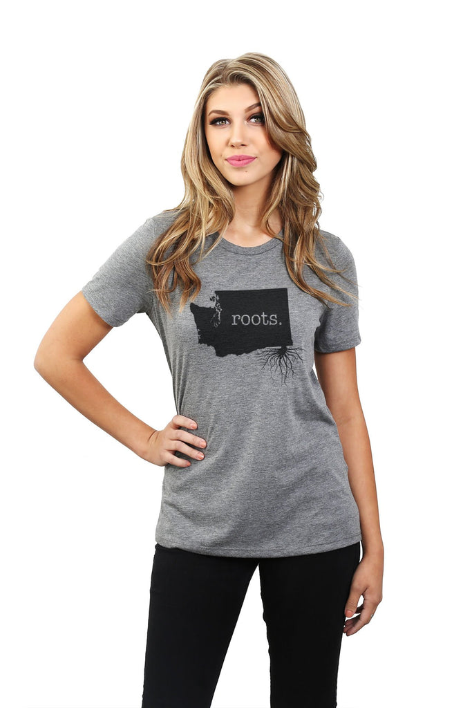 Home Roots State Washington WA Women Heather Grey Relaxed Crew T-Shirt Tee Top With Model