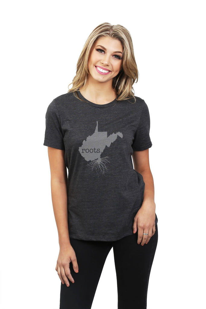 Home Roots State West Virginia WV Women Charcoal Grey Relaxed Crew T-Shirt Tee Top With Model