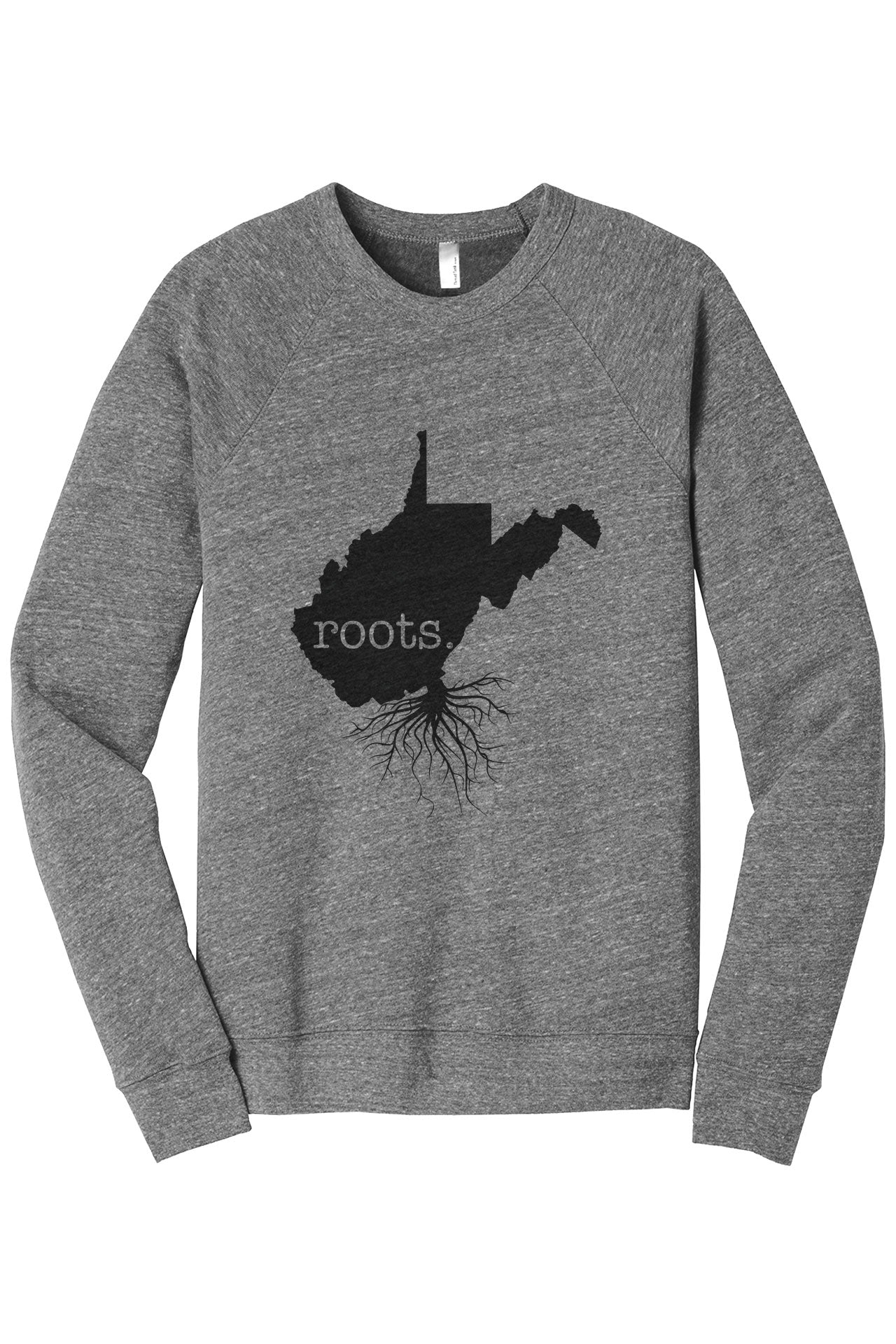 Home Roots State West Virginia WV Cozy Unisex Fleece Longsleeves Sweater Heather Grey FRONT