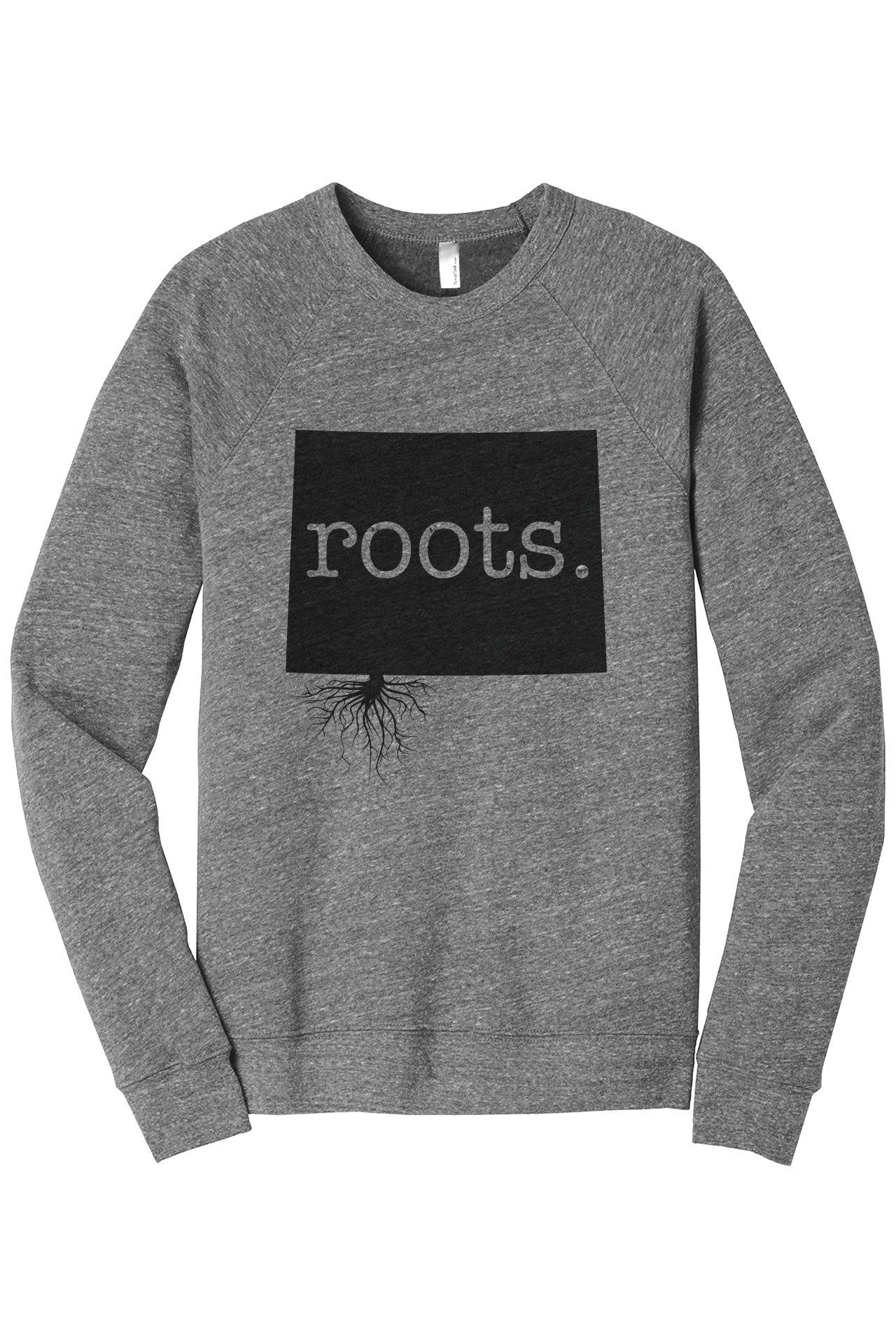 Home Roots State Wyoming WY Cozy Unisex Fleece Longsleeves Sweater Heather Grey FRONT