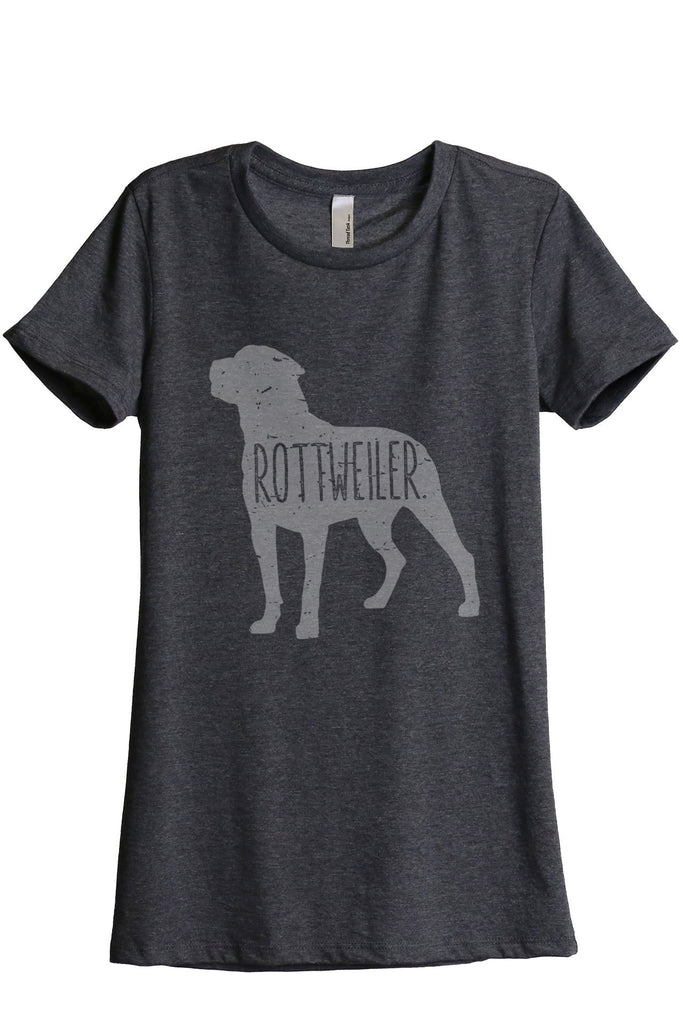 Rottweiler Dog Silhouette Women Charcoal Grey Relaxed Crew T-Shirt Tee Top