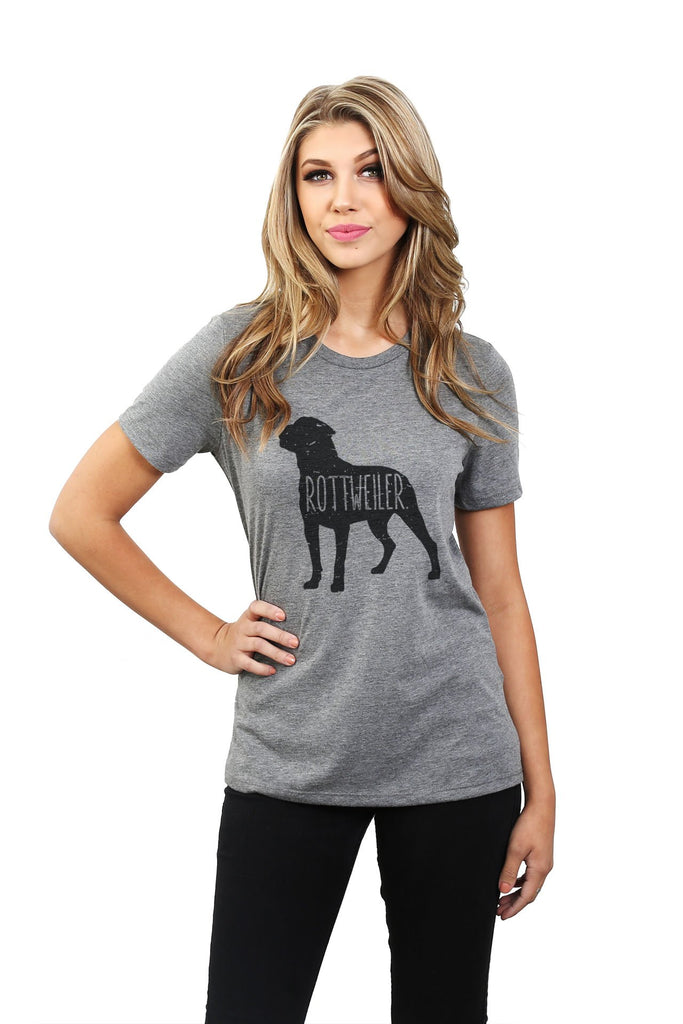Rottweiler Dog Silhouette Women Heather Grey Relaxed Crew T-Shirt Tee Top With Model