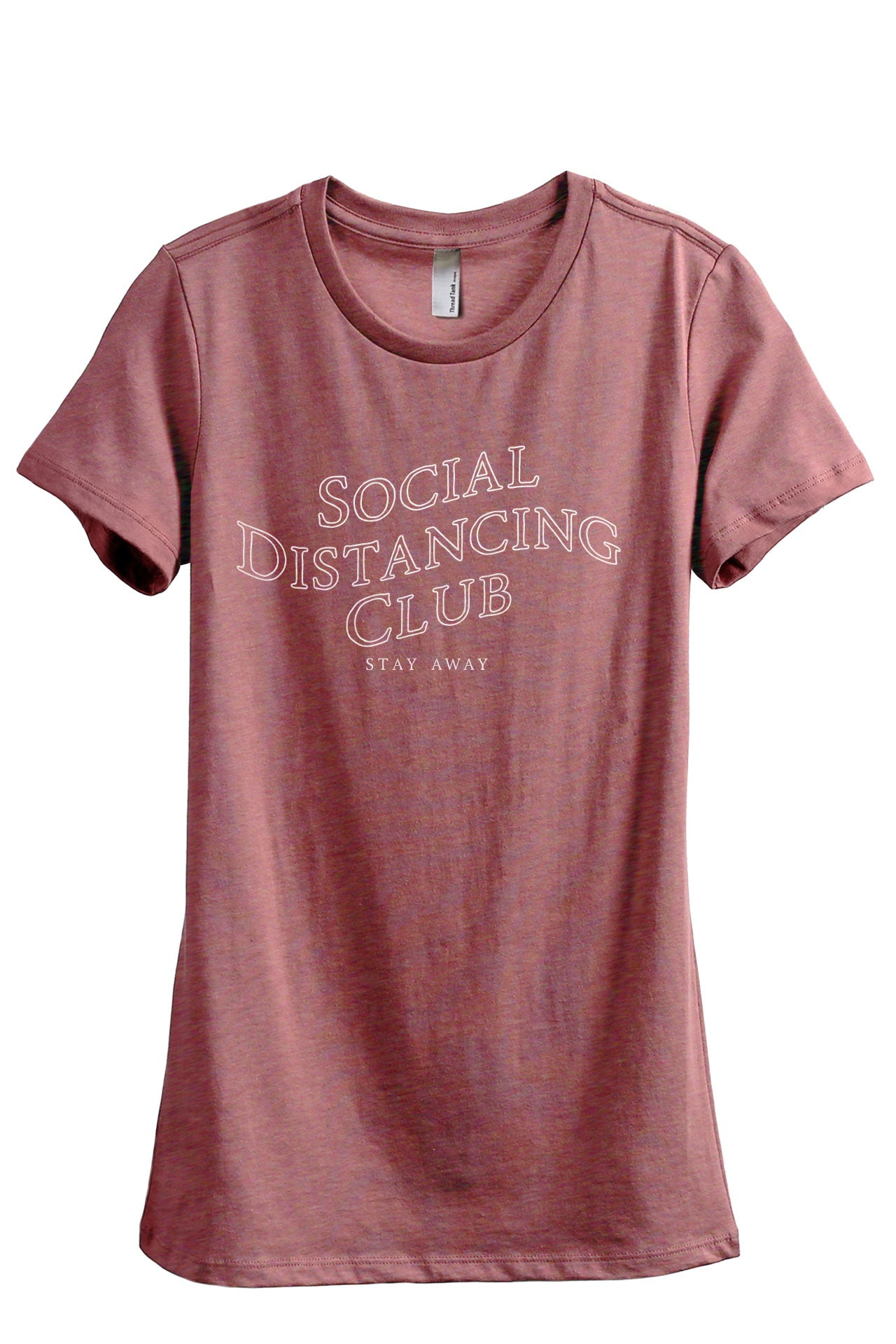 Social Distancing Club Women's Relaxed Crewneck T-Shirt Top Tee Heather Rouge