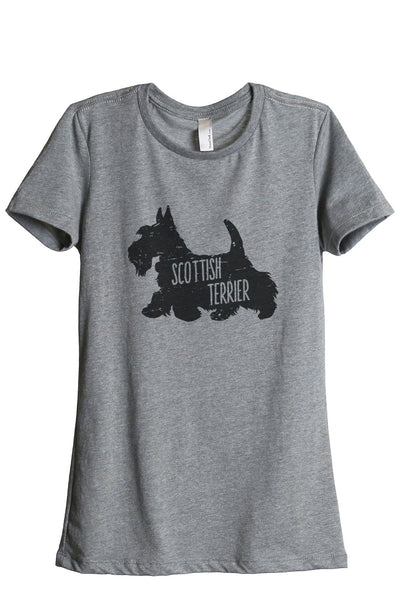 Scottish Terrier Dog Silhouette Women Heather Grey Relaxed Crew T-Shirt Tee Top