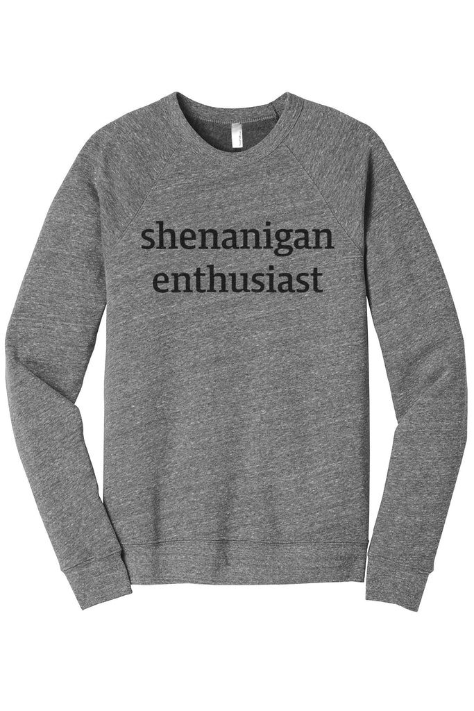 Shenanigan Enthusiast Women's Cozy Fleece Longsleeves Sweater Heather Grey FRONT