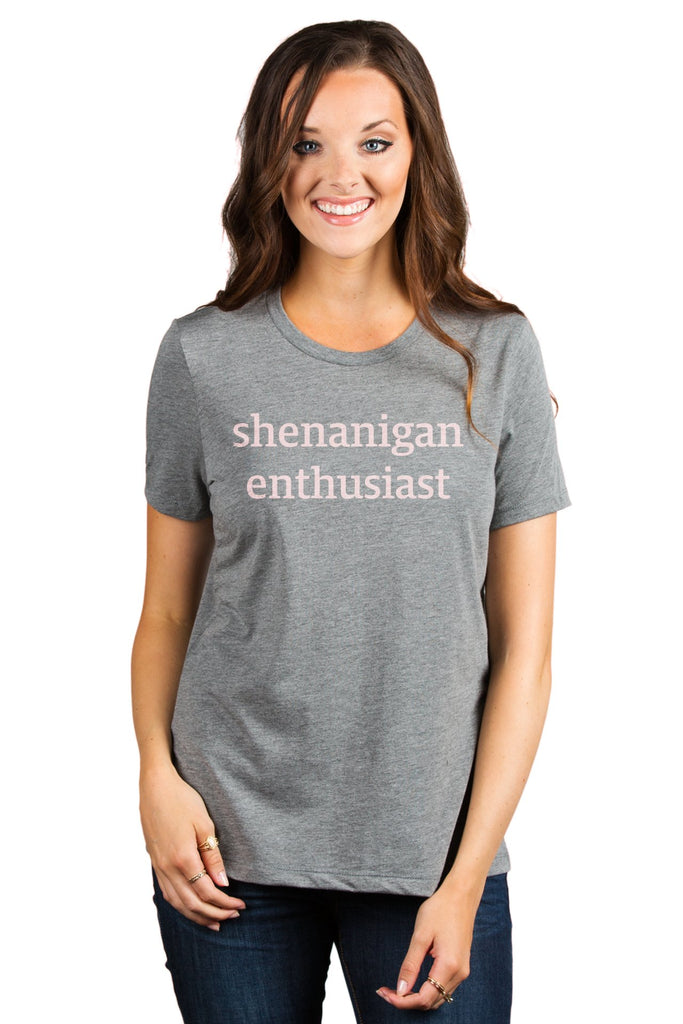 Shenanigan Enthusiast Women's Relaxed Crewneck T-Shirt Top Tee Heather Grey Model Pink Exclusive