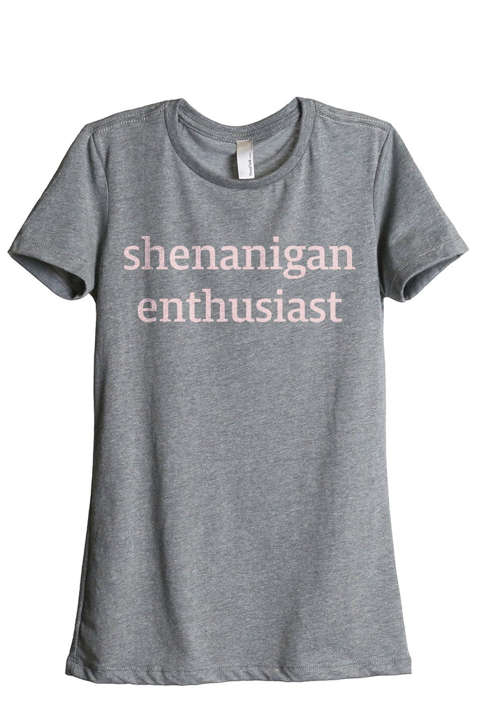 Shenanigan Enthusiast Women's Relaxed Crewneck T-Shirt Top Tee Heather Grey Pink Exclusive