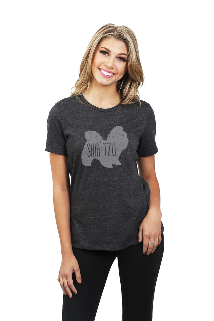 Shih Tzu Dog Silhouette Women Charcoal Grey Relaxed Crew T-Shirt Tee Top With Model