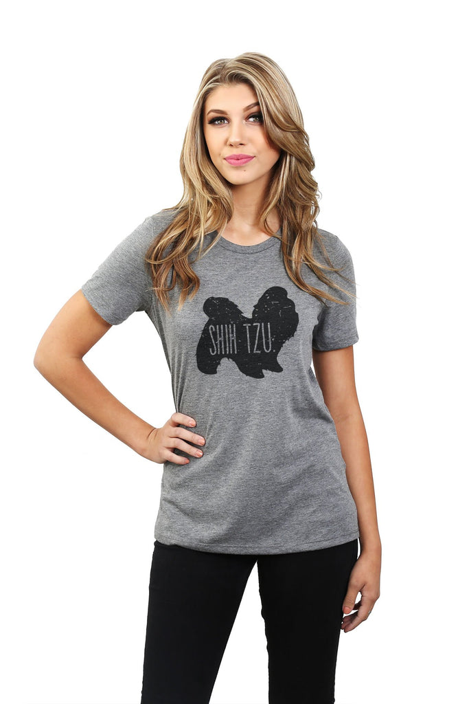 Shih Tzu Dog Silhouette Women Heather Grey Relaxed Crew T-Shirt Tee Top With Model