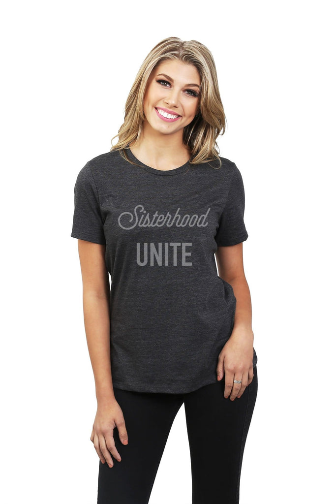 Sisterhood Unite Women Charcoal Grey Relaxed Crew T-Shirt Tee Top With Model