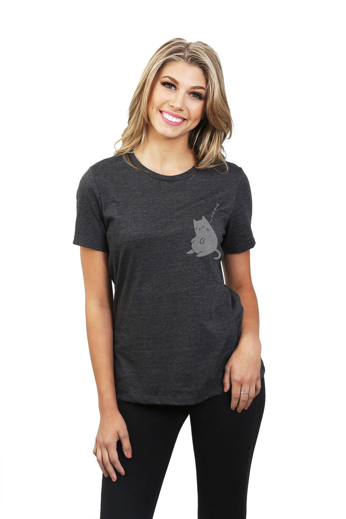 Sleepy Cat Women Charcoal Grey Relaxed Crew T-Shirt Tee Top With Model