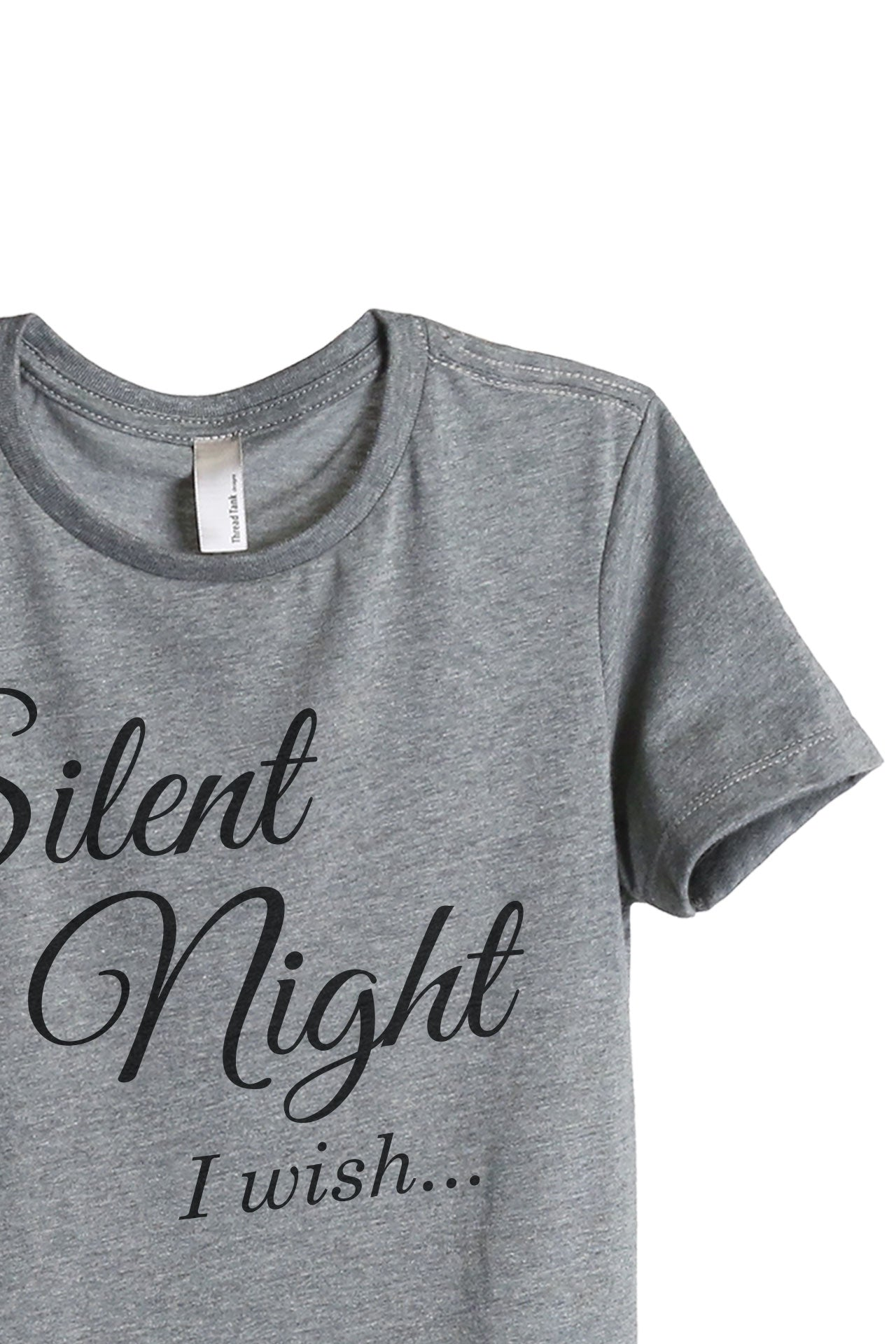 Silent Night I Wish Women's Relaxed Crewneck T-Shirt Top Tee Heather Grey