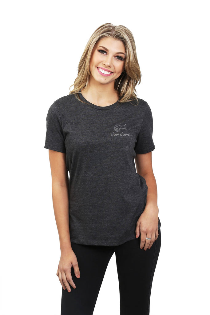 Slow Down Women's Relaxed Crewneck T-Shirt Top Tee Charcoal Grey Model