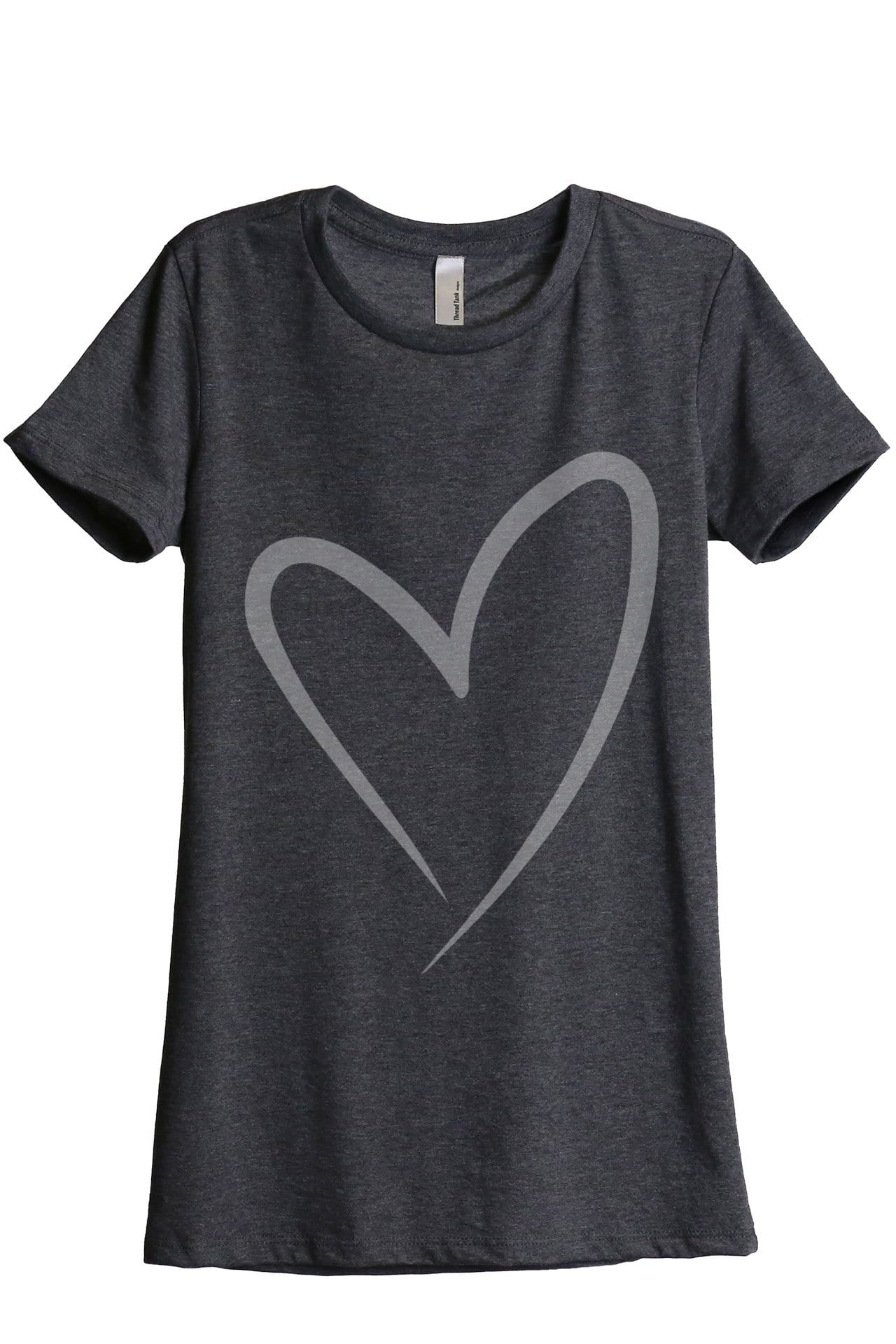 Simply Heart Women Charcoal Grey Relaxed Crew T-Shirt Tee Top