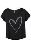 Simply Heart Women's Relaxed Slouchy Dolman T-Shirt Tee Heather Black