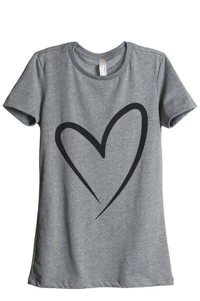 Simply Heart Women Heather Grey Relaxed Crew T-Shirt Tee Top