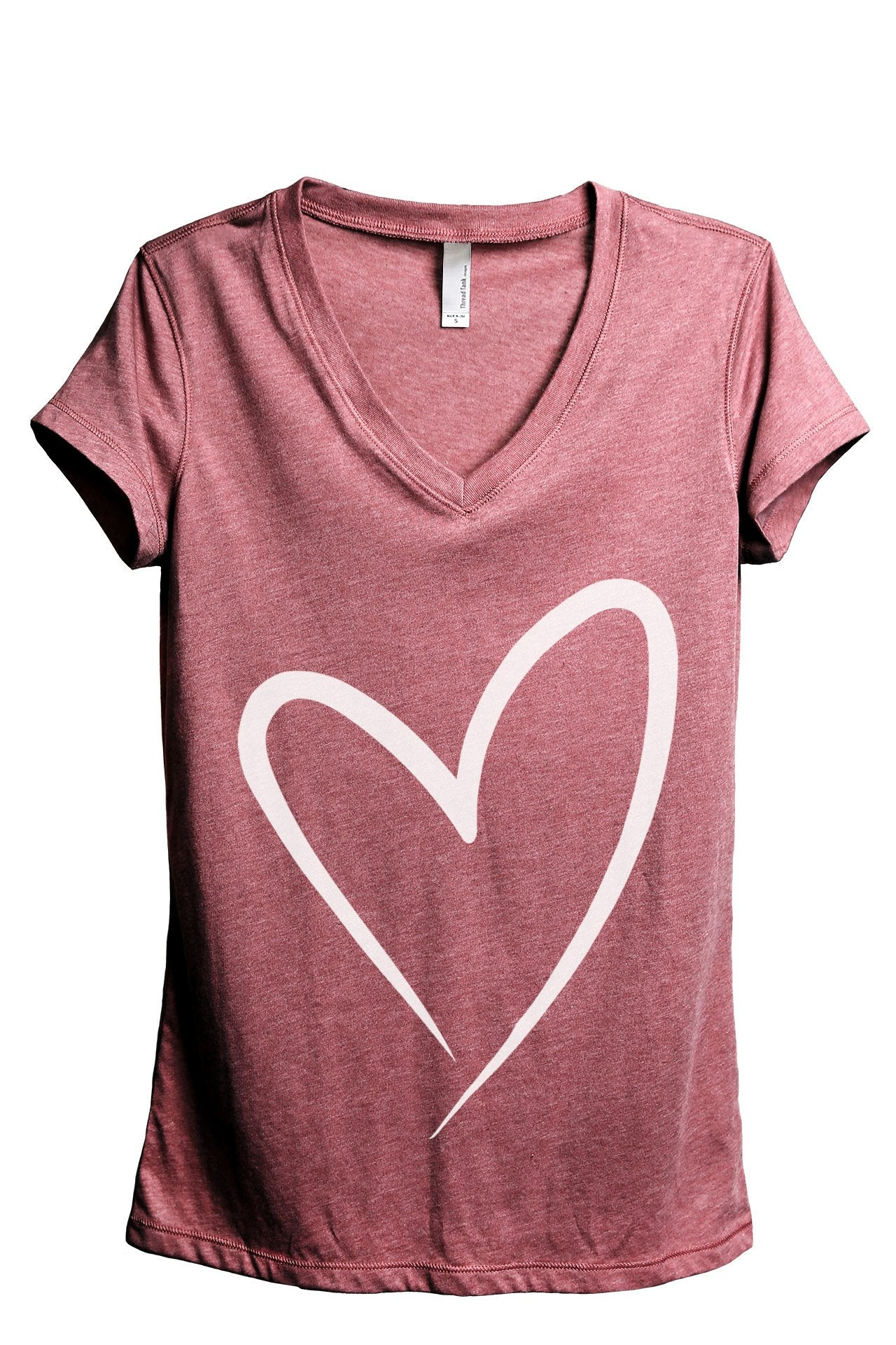 Simply Heart Women's Relaxed V-Neck T-Shirt Tee Heather Black