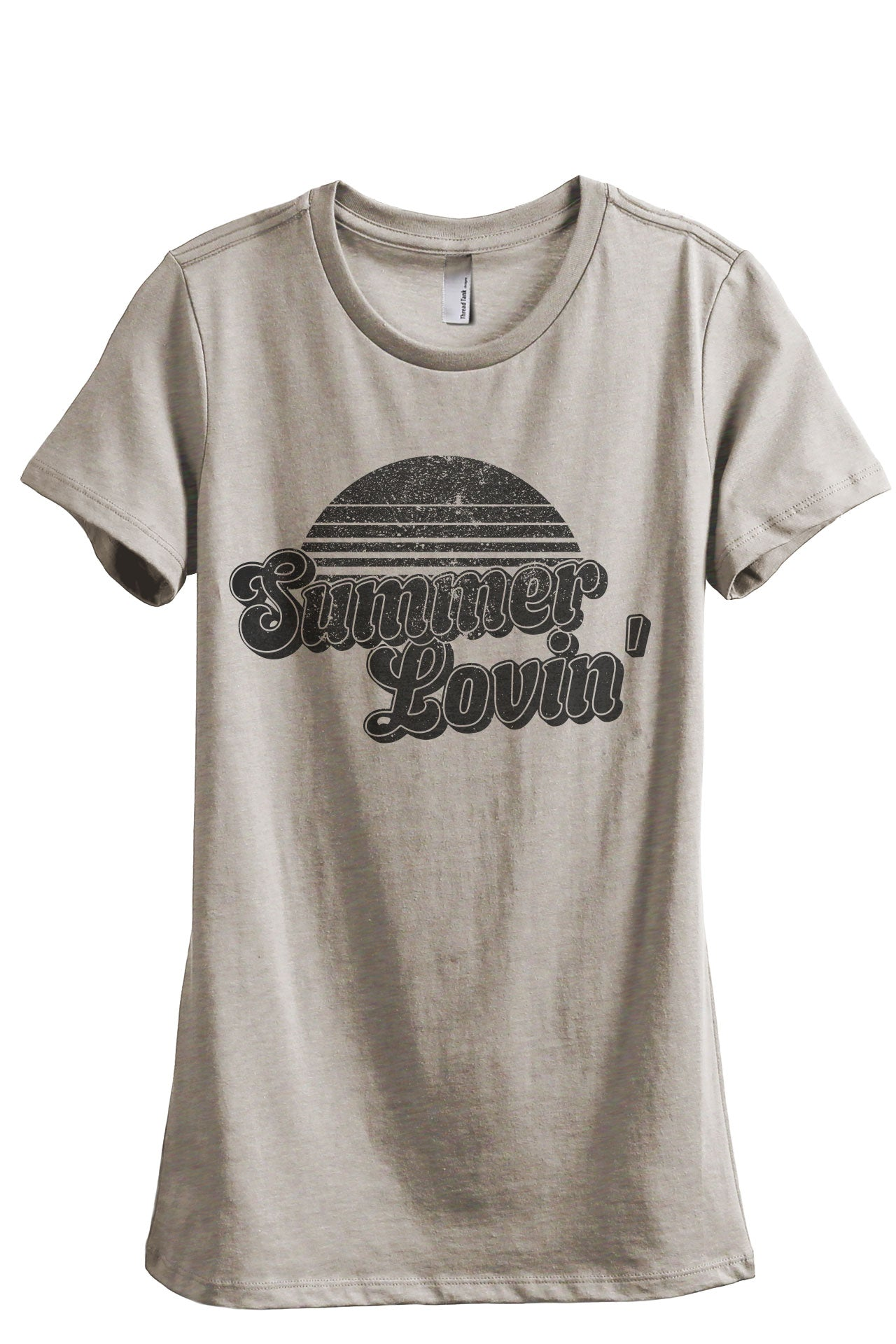 Summer Lovin' Women's Relaxed Crewneck T-Shirt Top Tee Charcoal Grey