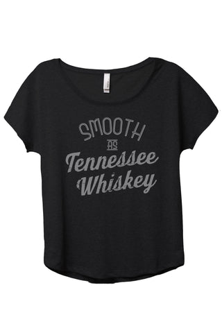 Smooth As Tennessee Whiskey Women's Relaxed Slouchy Dolman T-Shirt Tee Heather Black