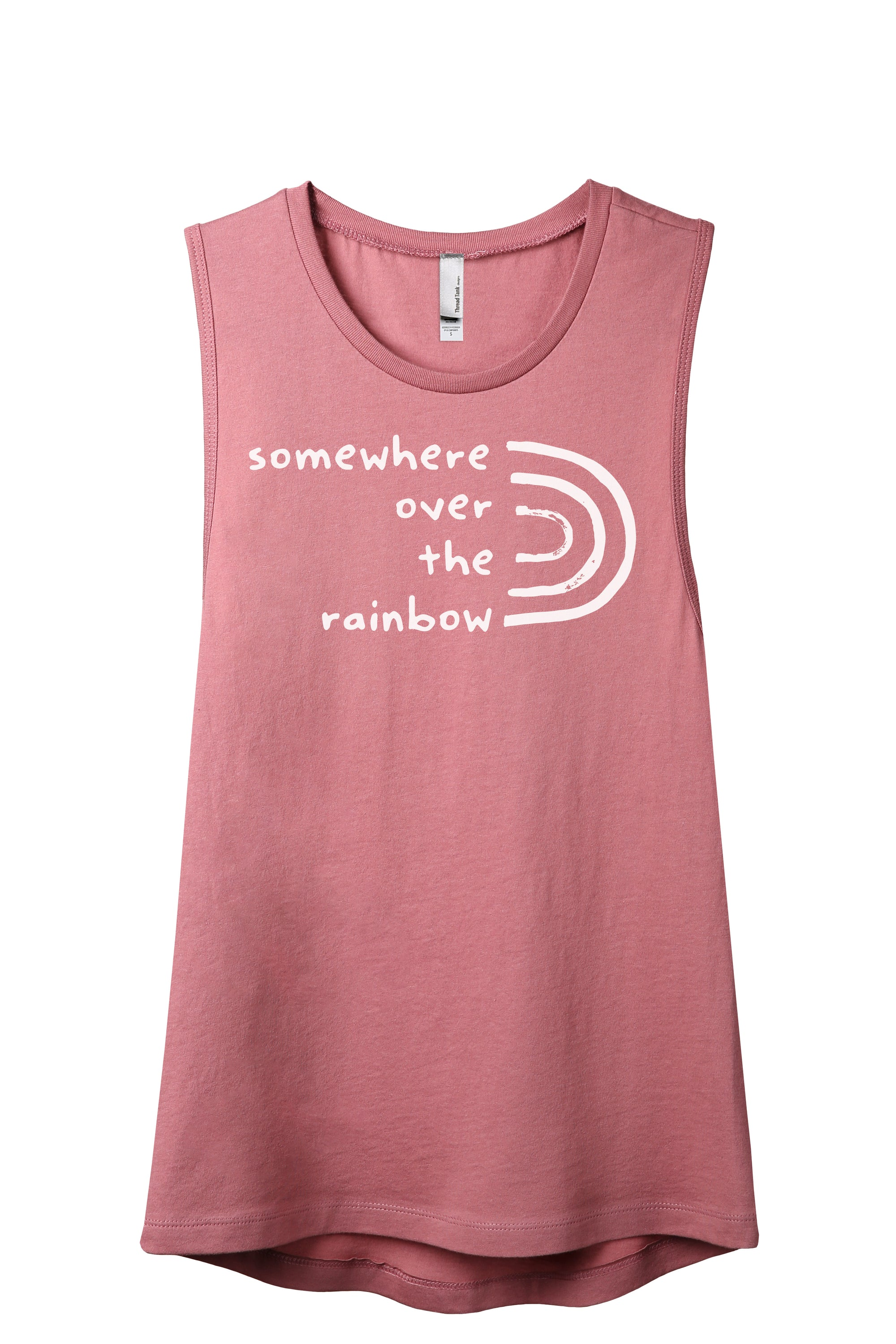 Somewhere Over The Rainbow Women's Relaxed Muscle Tank Tee Rouge
