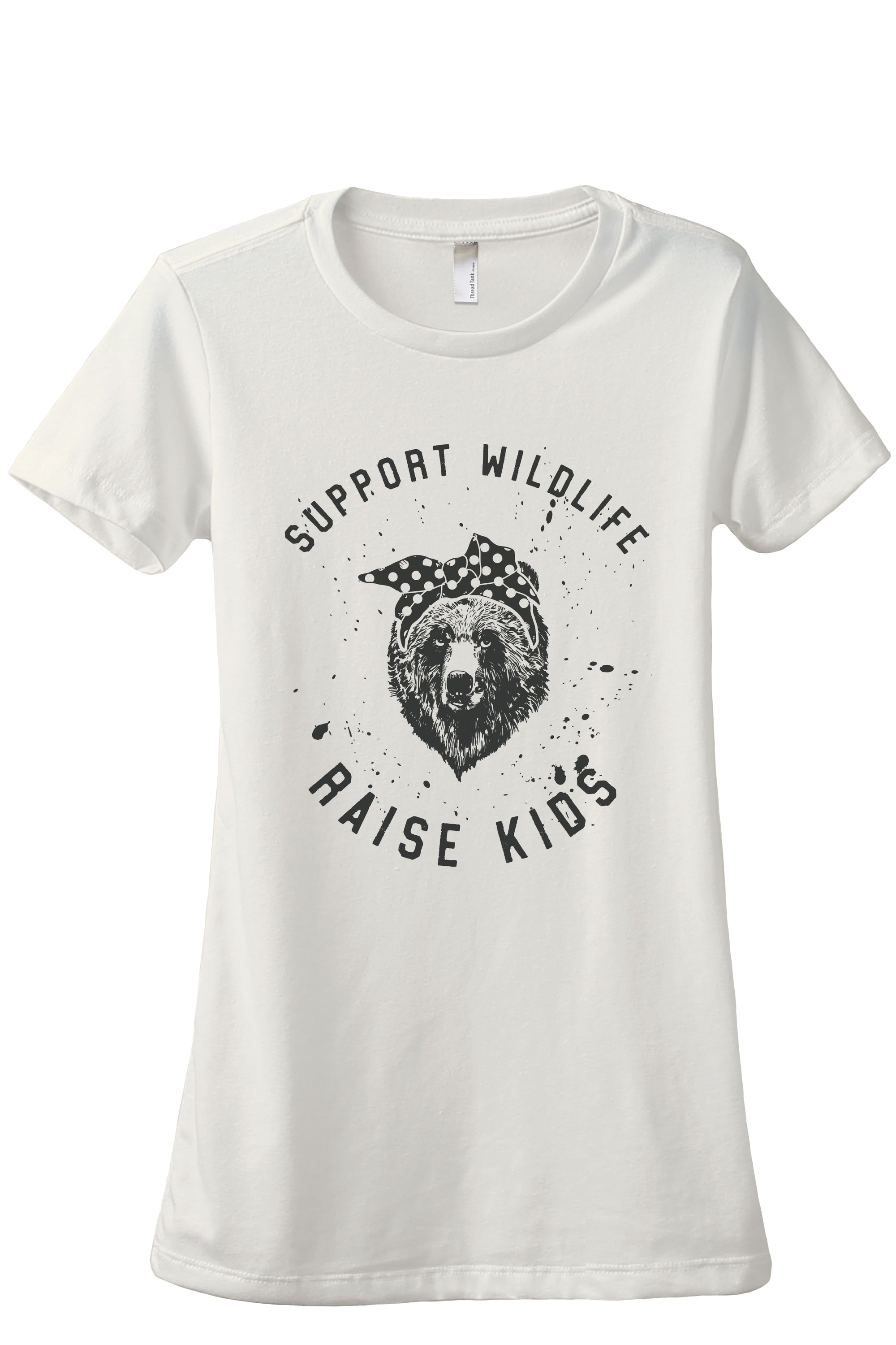 Support Wildlife Raise Kids Women's Relaxed Crewneck T-Shirt Top Tee Charcoal Grey