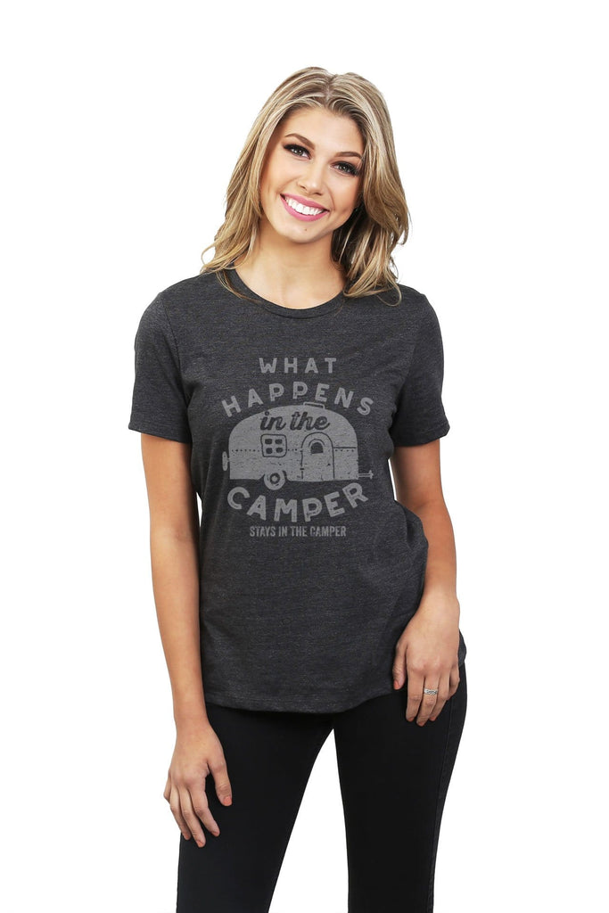 What Happens In The Camper Stays In The Camper Women Charcoal Grey Relaxed Crew T-Shirt Tee Top With Model