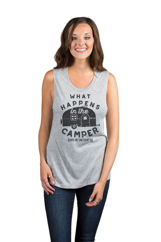 What Happens In The Camper Stays In The Camper Women Sport Grey Sleeveless Muscle Tank Top With Model