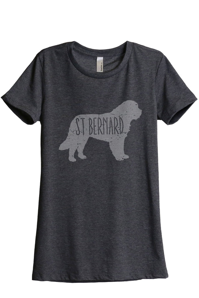 St Bernard Dog Silhouette Women Charcoal Grey Relaxed Crew T-Shirt Tee Top