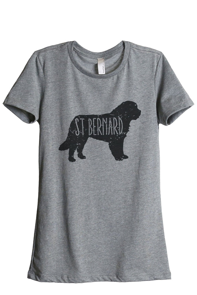 St Bernard Dog Silhouette Women Heather Grey Relaxed Crew T-Shirt Tee Top
