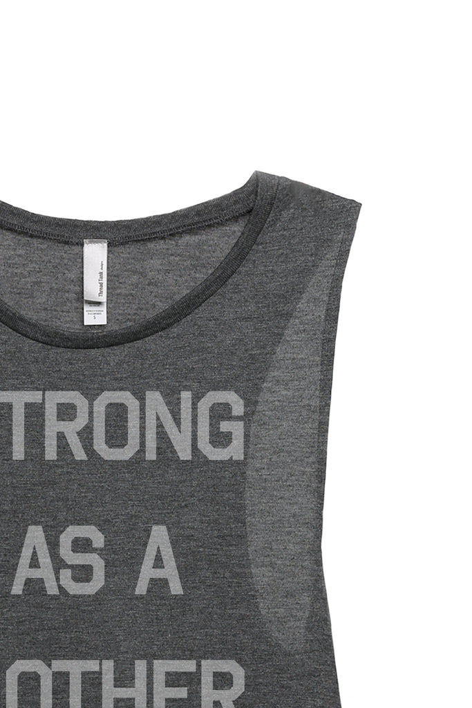 Strong As A Mother Women's Relaxed Muscle Tank Tee Charcoal Closeup Details