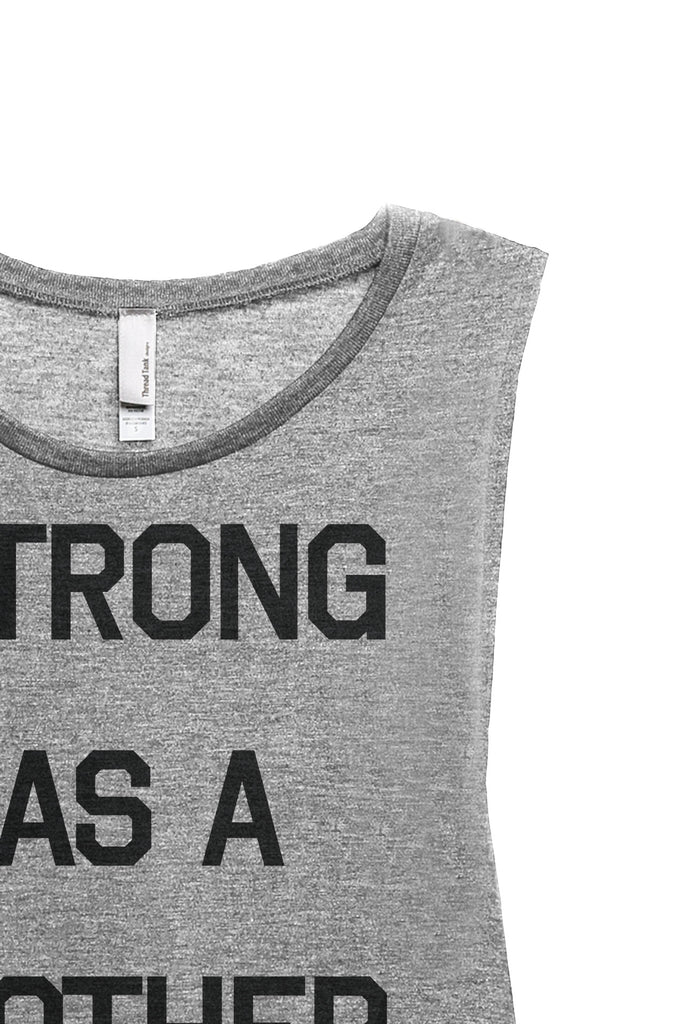 Strong As A Mother Women's Relaxed Muscle Tank Tee Heather Grey Closeup Details