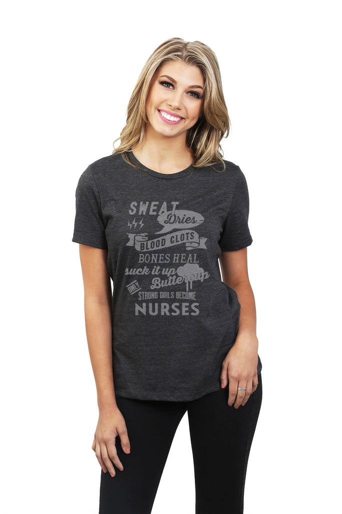 Strong Girls Become Nurses Women Charcoal Grey Relaxed Crew T-Shirt Tee Top With Model