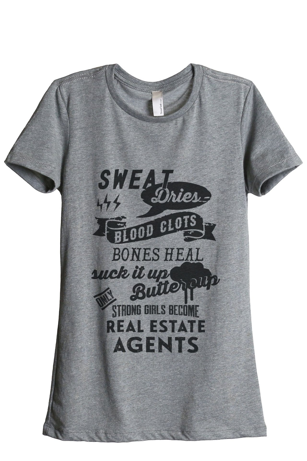 Strong Girls Become Real Estate Agents Women Heather Grey Relaxed Crew T-Shirt Tee Top