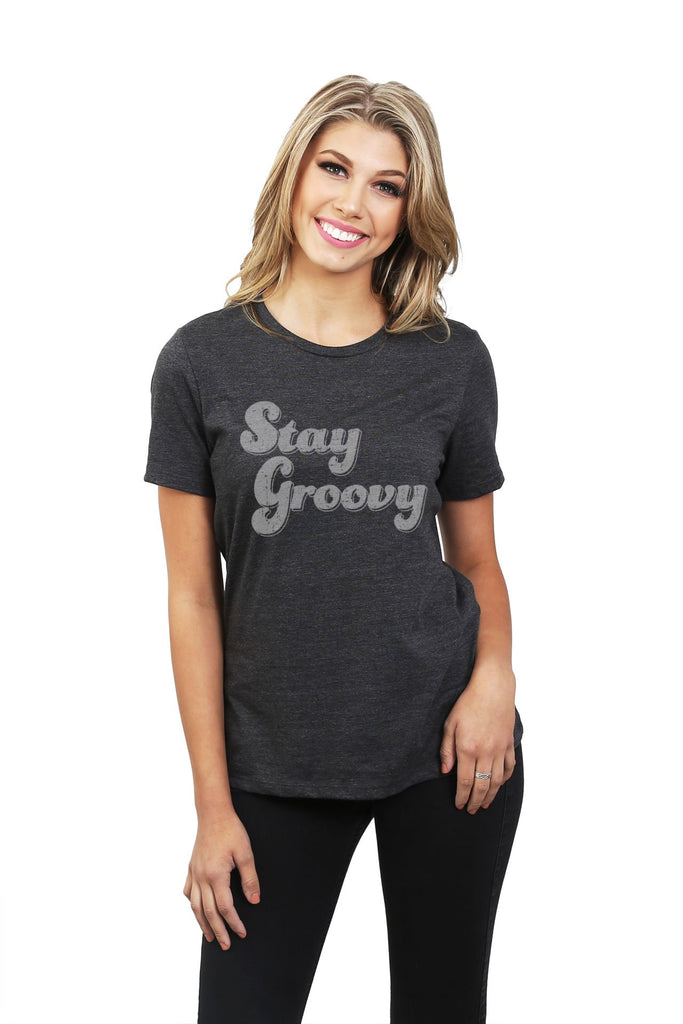 Stay Groovy Women's Relaxed Crewneck T-Shirt Top Tee Charcoal Grey Model