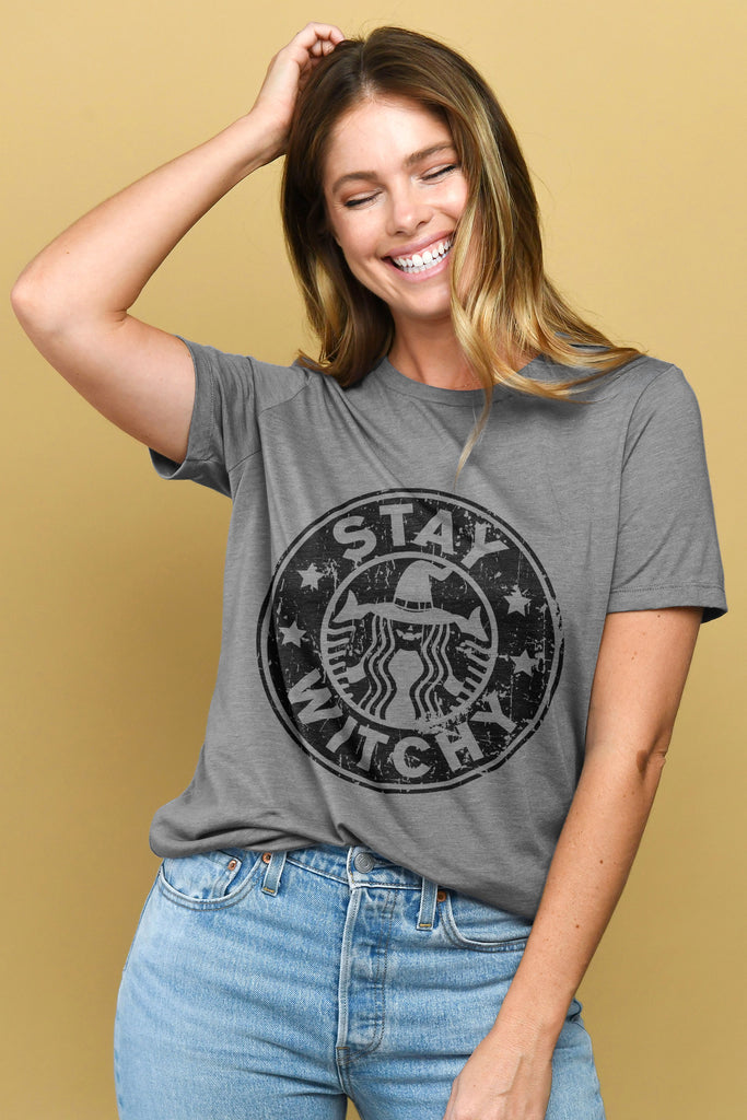 Stay Witchy Women Heather Grey Relaxed Crew T-Shirt Tee Top With Model