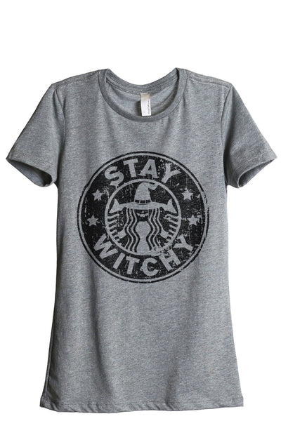 Stay Witchy Women Heather Grey Relaxed Crew T-Shirt Tee Top