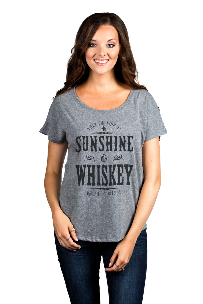 Only The Finest Sunshine & Whiskey Radiant Spirits Co Women Heather Grey Slouchy Dolman T-Shirt Tee Top With Model