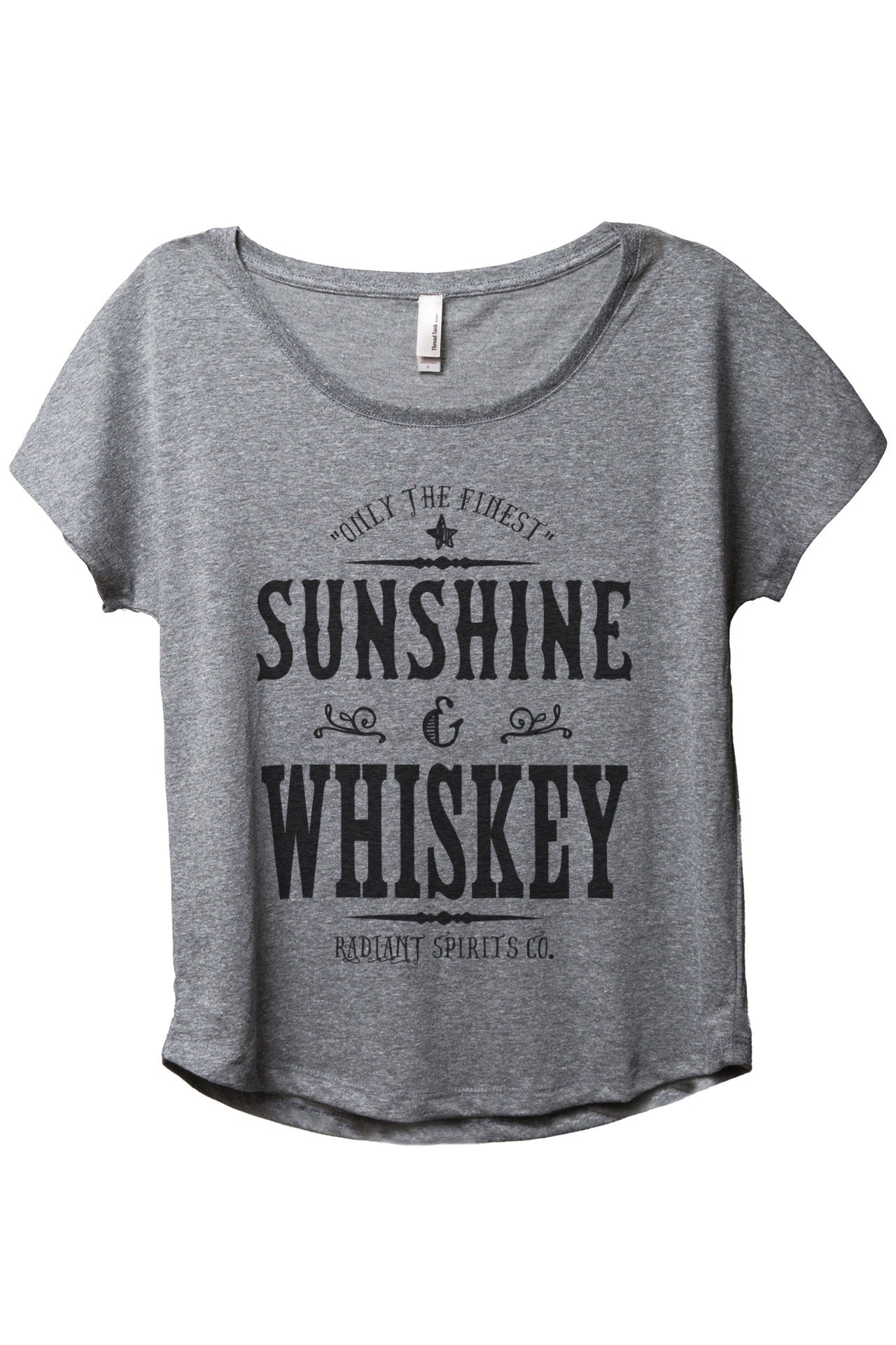 Only The Finest Sunshine & Whiskey Radiant Spirits Co Women's Relaxed Slouchy Dolman T-Shirt Tee Heather White