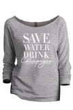 Save Water Drink Champagne Sport Grey Printed Graphic Sweatshirt