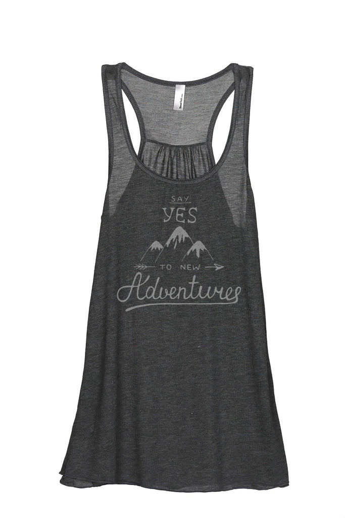 Say Yes To New Adventures Women Charcoal Grey Flowy Sleeveless Racerback Tank Top