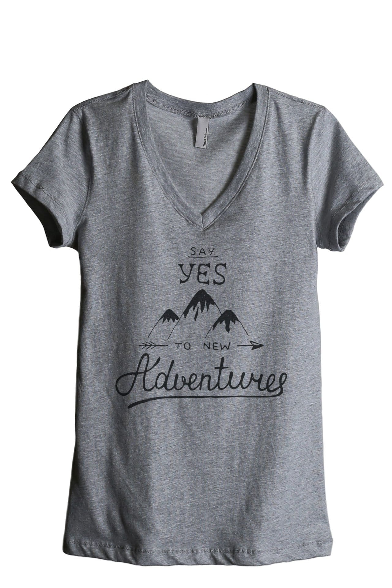 Say Yes To New Adventures Women Heather Grey V-Neck T-Shirt Tee Top